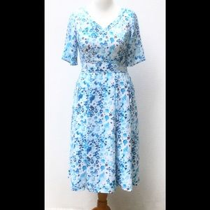 New Eshakti Floral Fit & Flare Crepe Dress L 14
