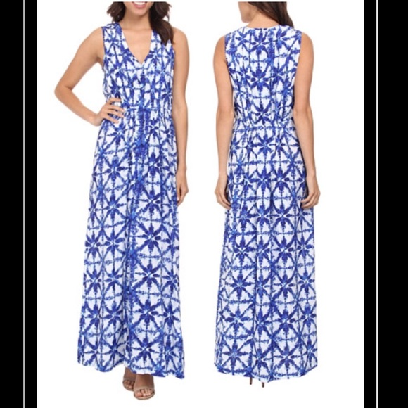 acc66107bcc Michael Kors Glazed Tile Print Pleated Maxi Dress