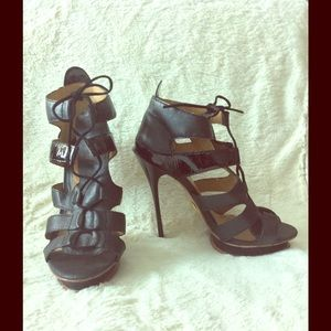 LAMB Black platform heeled sandals size 8