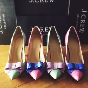 J. Crew Shoes - J.Crew collection contessa snakeskin bow pump