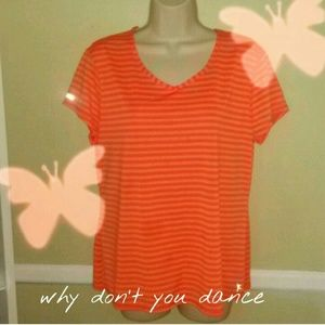 Danskin now Tops - Danskin now orange with white stripe blouse