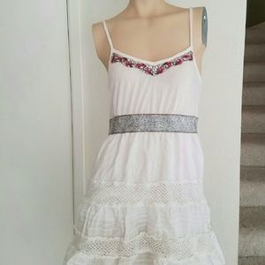 Free people whote beaded dress xs