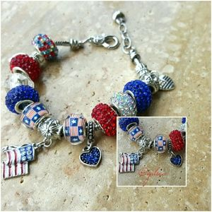 Salty Grace  Jewelry - Red white and blue patriotic bling bracelet