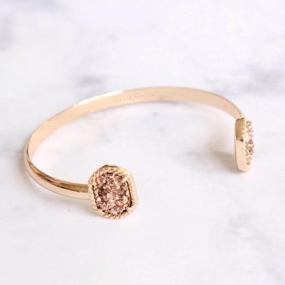 Karis' Kloset Jewelry - Jewelry | Rose Druzy gold open bangle