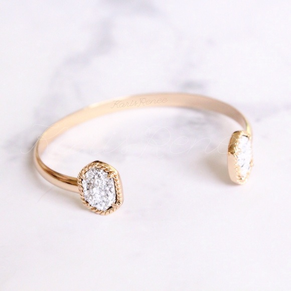 Karis' Kloset Jewelry - NEW silver Druzy gold open bangle