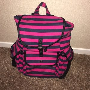Pink And Blue Striped Backpack