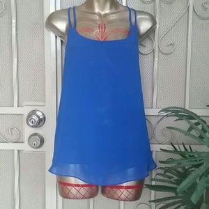 Royal blue silky strappy tank blouse