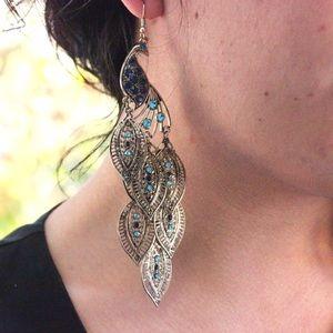 Forever 21 Jewelry - Forever 21 Peacock Chandelier Earrings