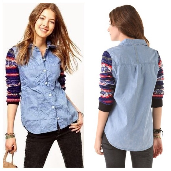 82% off Free People Tops - Free People Chambray FairIsle Sweater ...