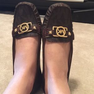  Brown Leather Michael Kors flat shoes.