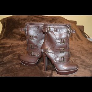 Dereon Shoes - Dereon brown fur/faux leather high heel boots