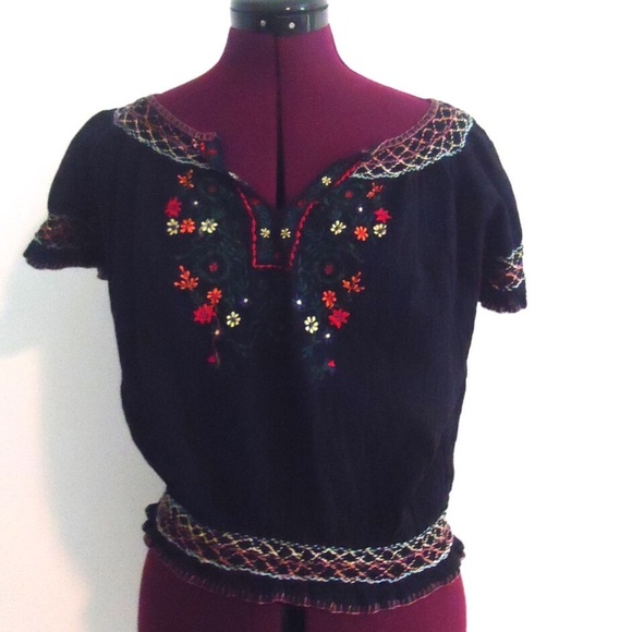 c81bbac61c1e5 Mexican Embroidered Top Blouse Tunic Black Gauze