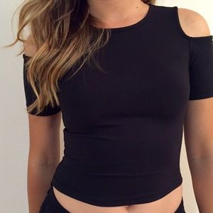 Tops - Cold Shoulder Crop Top (LAST LARGE!)