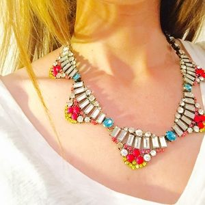 Statement necklace with neon accents