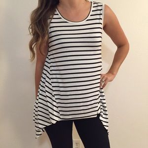 Tops - Striped Sleeveless Trapeze Tunic