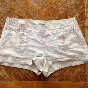 Express Pants - Express Tan Double Button Sailor Shorts