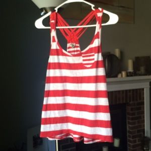 Poof! Red and white striped sleeveless tank