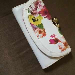 White Leather Floral Wallet