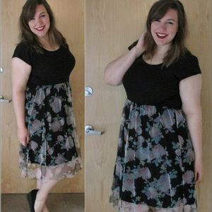 LC Lauren Conrad Dresses & Skirts - LC by Lauren Conrad Floral Tulle Black Dress