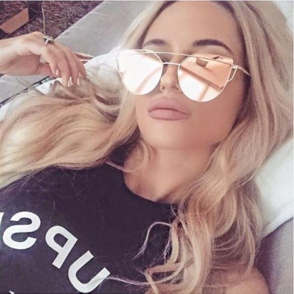 b9df290b72 Rose Gold Mirrored Sunglasses Cat Eye