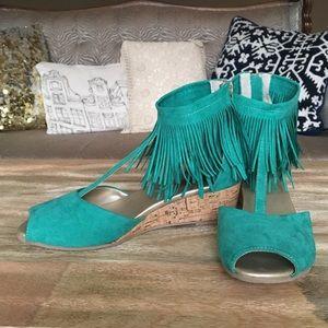 Teal Joyfolie fringe sandals