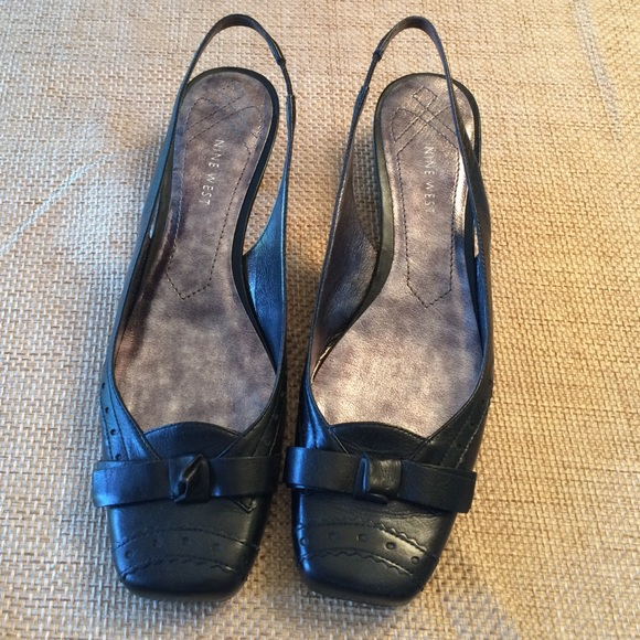 75% off Nine West Shoes - EUC Nine West black leather kitten heels ...