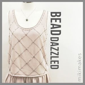 Forever 21 Tops - F21 • Beaded nude pale pink boxy tank