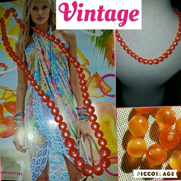 Vintage Jewelry - VTG Coral Orange Moonglow Lucite necklace