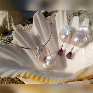 SALEBaroque Pearl, amethyst & emerald earrings