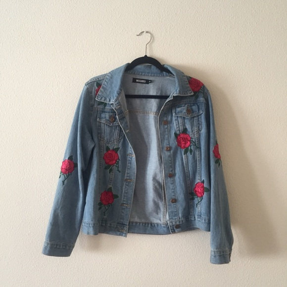 Missguided Jackets Coats Rose Embroidered Denim Jacket Poshmark