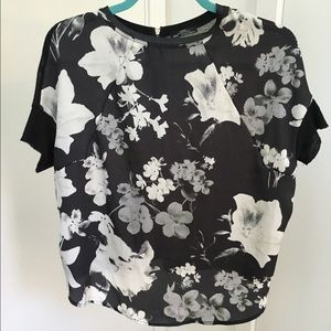 Zara Black and white floral top.