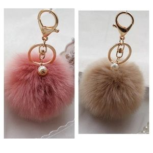 Pompom Bag Charms - Keychains, Faux Fur with Pearl