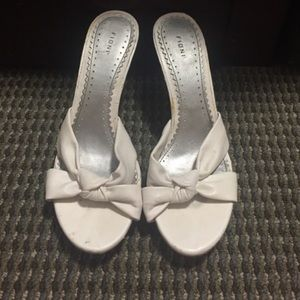 FIONI Clothing Shoes - White Leather Slip-On Heels