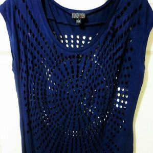 Tops - Navy Blue Cutout Tee