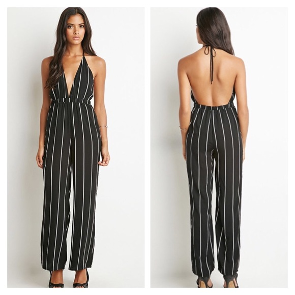 588483cbe16c Forever 21 Pants | Striped Halter Jumpsuit | Poshmark