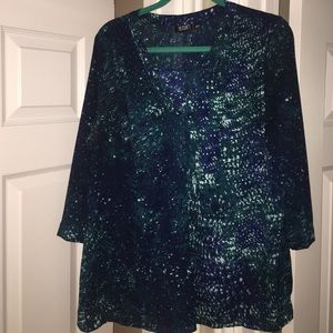 Blue top with quarter length sleeves size PXL