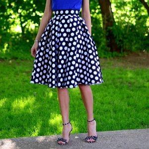 Anthropologie Polkadot Flared Skirt