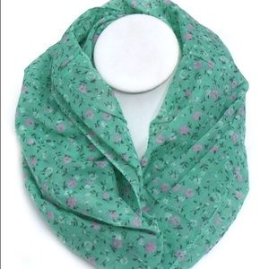 Accessories - Mint Green Floral Infinity Scarf