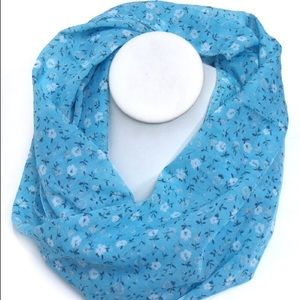 Accessories - Sky Blue Floral Infinity Scarf