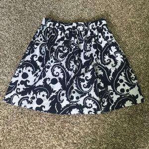 Milly for Banana Republic Navy/White scroll skirt