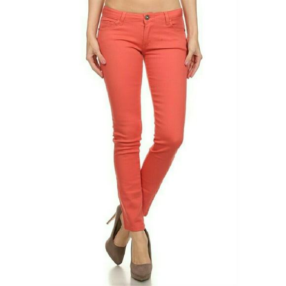 Coral Skinny Denim Jeans From !! Majestii Clothing's