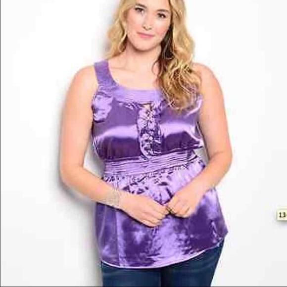 351a97041b1 Plus Size Shiny Baby Doll Purple Top