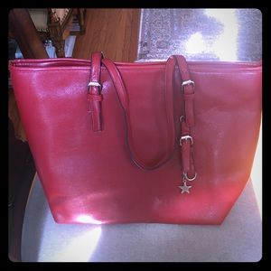 Gorgeous red tote with Macy's print lining