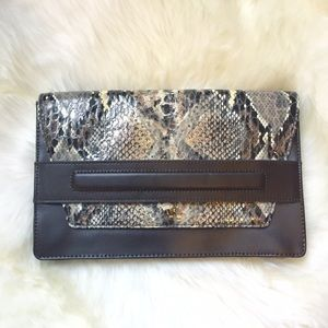 Banana Republic Handbags - Banana Republic Brown Snake Printed Clutch