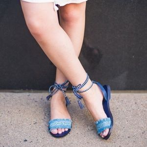 J. Crew Lace Up Tassel Flats