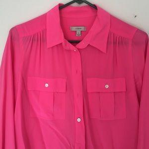 J. Crew Tops - J.crew neon pink Blythe blouse