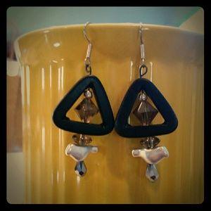Mine  Jewelry - Black Onyx, crystal, glass and brushed silver bird