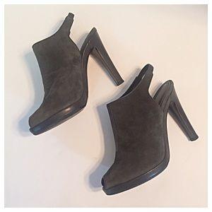 Jil Sander Shoes - Jil Sander Grey Suede Peep Toe Slingback