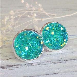Abbie's Anchor Jewelry - Teal faux druzy stud earrings
