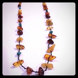 Jewelry - Beautiful Genuine Amber & Turquoise Boho Necklace